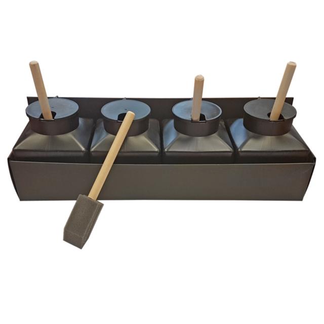 pot a deforme americain lot de 4 avec pinceau mousse. Black Bedroom Furniture Sets. Home Design Ideas